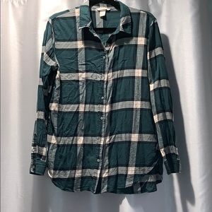 H&M Hunter Green Flannel Top